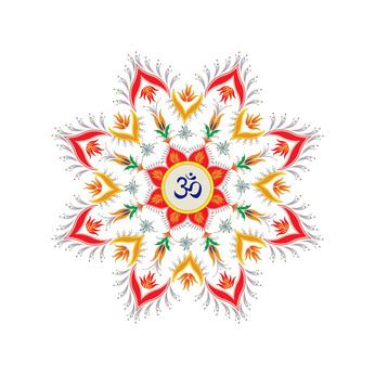 Ornamental round pattern hindu symbol om